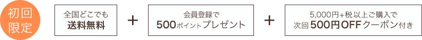 初回限定 送料無料+会員登録で500ポイントプレゼント+次回使える500円クーポン